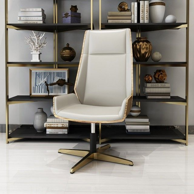 White PU Leather Upholstered Office Chair High Back Swivel Chair .