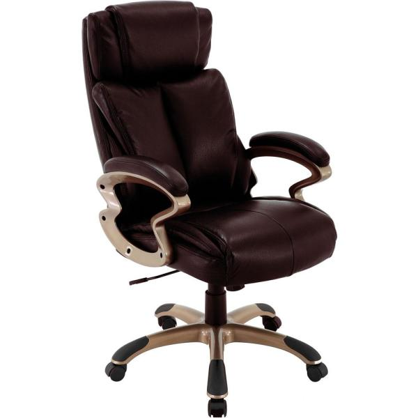 Hanover Atlas Brown Executive Office Chair with Upholstered Faux .