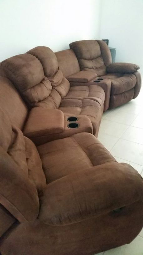 New (never used) - Mocha, Chocolate Brown Sectional Entertainment .