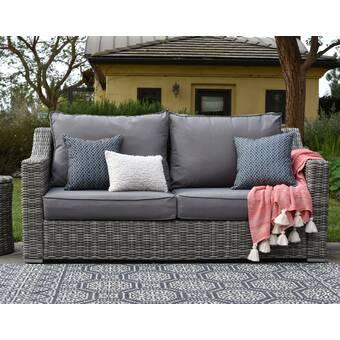 Elle Decor Vallauris Patio Sofa with Cushions & Reviews | Birch La