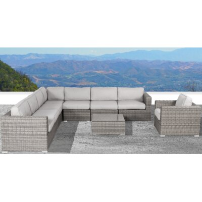 Vardin 9 Piece Sectional Set with Cushions Rosecliff Heights Frame .