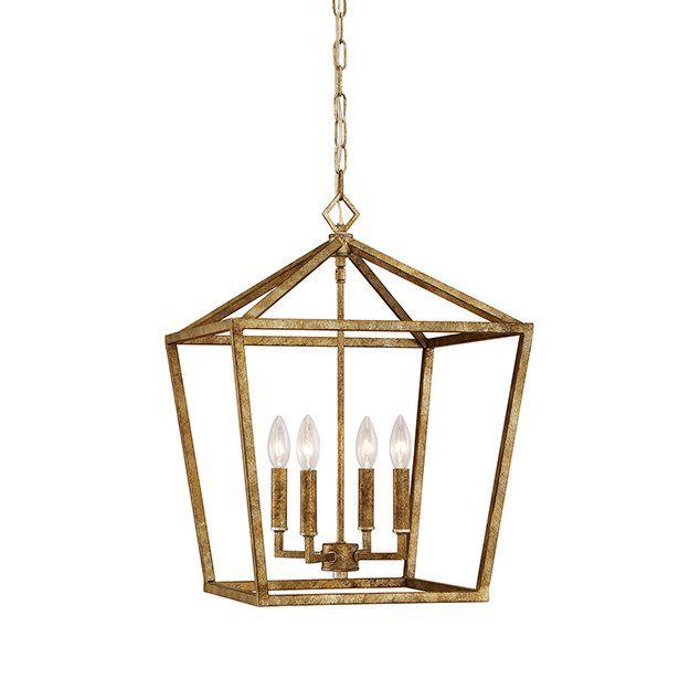 Varnum 4 - Light Lantern Geometric Pendant | Gold pendant lighting .