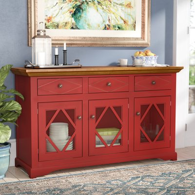 Darby Home Co Velazco Sideboard Top Color: Concord Cherry, Base .