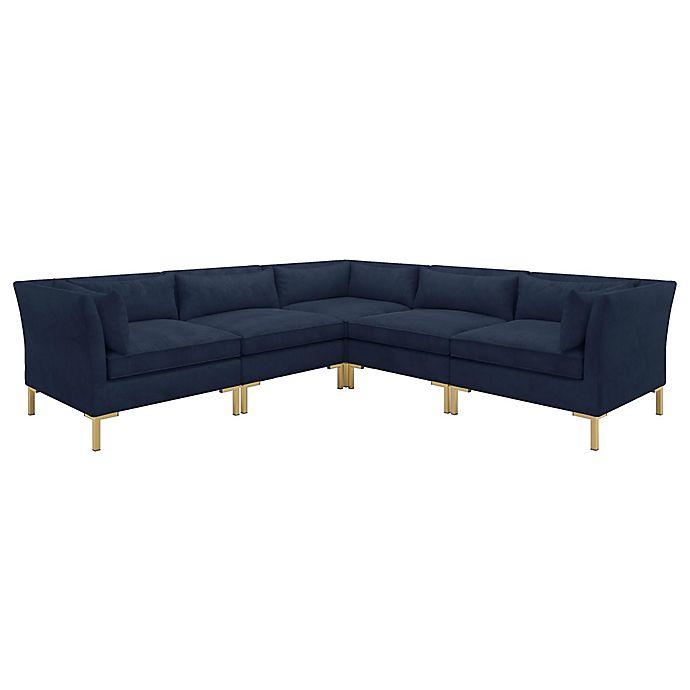 Doyer 5-Piece L-Shaped Velvet Sectional Sofa | Bed Bath & Beyo