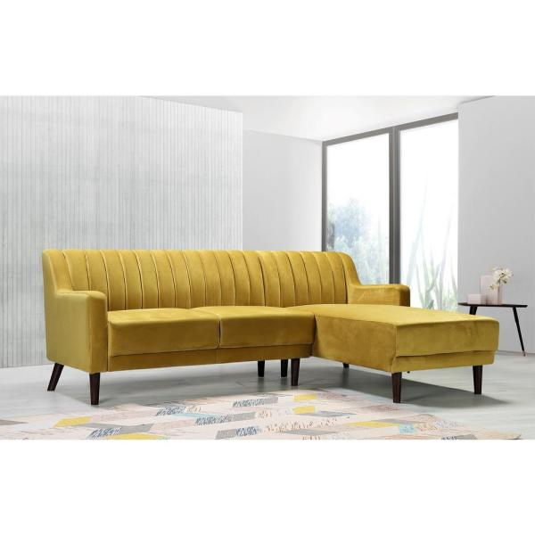 US PRIDE FURNITURE 2-Piece YellowChannel Velvet 3-Seater L-Shaped .