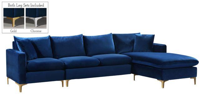 Selene Contemporary Plush Navy Blue Velvet Sectional Sofa with .