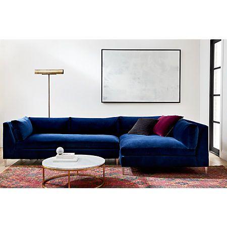 Decker 2-Piece Navy Blue Velvet Sectional Sofa + Reviews | CB2 .