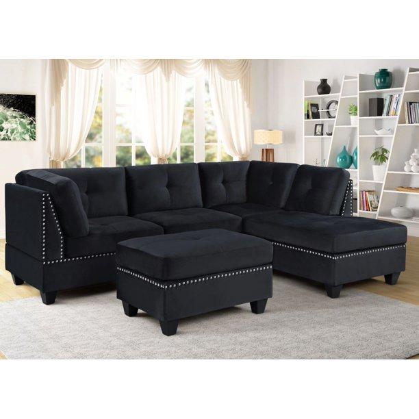 Seres Sectional Sofa Upholstered in Black Velvet With Free Ottoman .