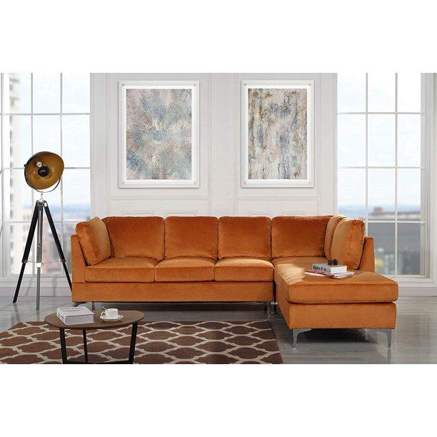 """Upholstered Velvet 101.1"""" inch Sectional Sofa, Classic Living Room ."""
