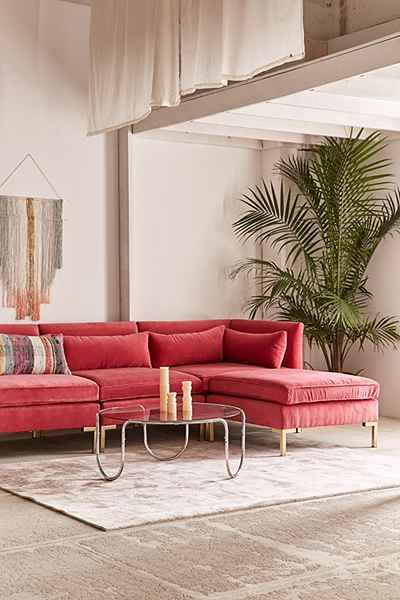 Cecilia Velvet Sectional Sofa | Colourful living room decor, Sofa .
