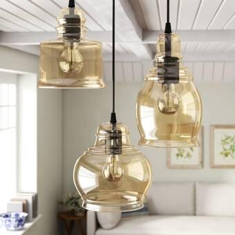 Pruett Cognac 3-Light Cluster Bell Pendant & Reviews | Birch La