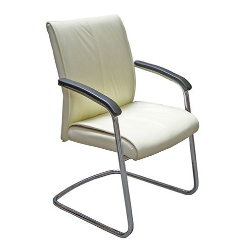 Executive Cantilever Boardroom Chair in Cream Italian Leather .