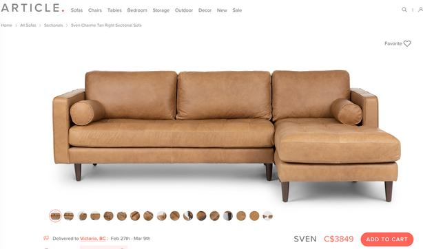 BRAND NEW *** ARTICLE LEATHER SECTIONAL SOFA Victoria City .