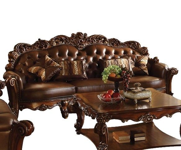 Vendome Victorian Oversized Brown Faux Leather Sofa With Wood Accen