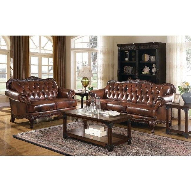Victoria Leather Living Room Set Coaster Furniture | FurniturePi