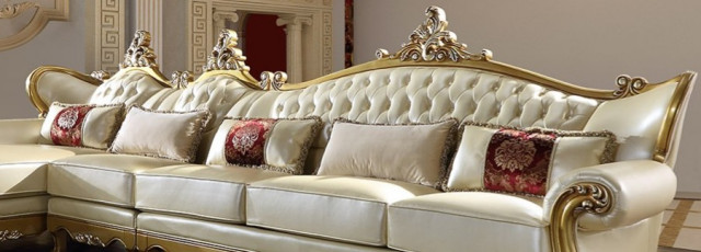 NEW VICTORIAN STYLE METALLIC ANTIQUE GOLD LEATHER FINISH SECTIONAL .