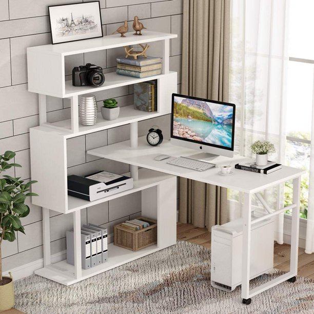 Tribesigns Rotating Computer Desk with 5 Shelves Bookshelf .