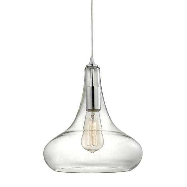 Home Decorators Collection 1-Light Polished Chrome Pendant with .
