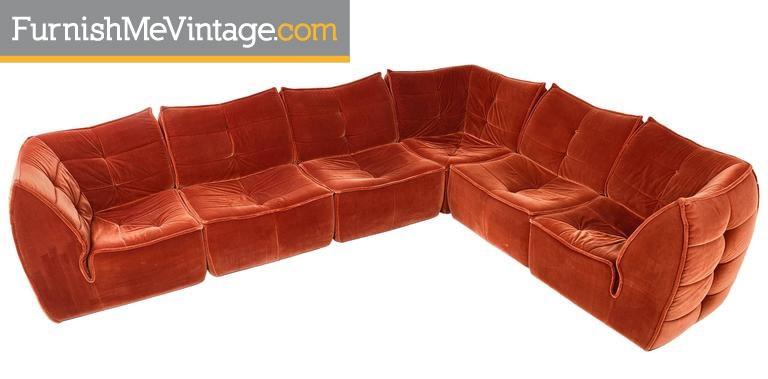 Red velvet 1970s pit group sectional so