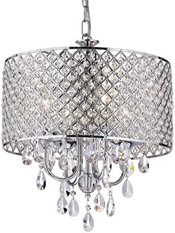Edvivi Marya 4-Light Chrome Round Crystal Chandelier Ceiling .
