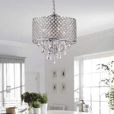 House of Hampton Von 4-Light Crystal Drum Pendant | Round .