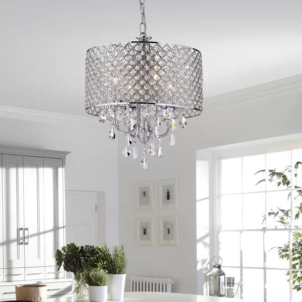 Von 4-Light Crystal Drum Pendant | Round chandelier, Drum .
