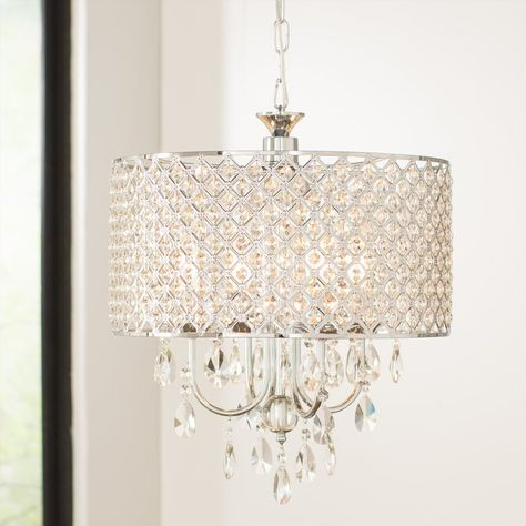 Von 4-Light Crystal Drum Pendant | Crystal chandelier dining room .