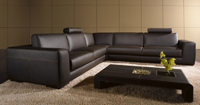 Modern Leather Sectional Sofa with Coffee Table by Tosh Furniture .