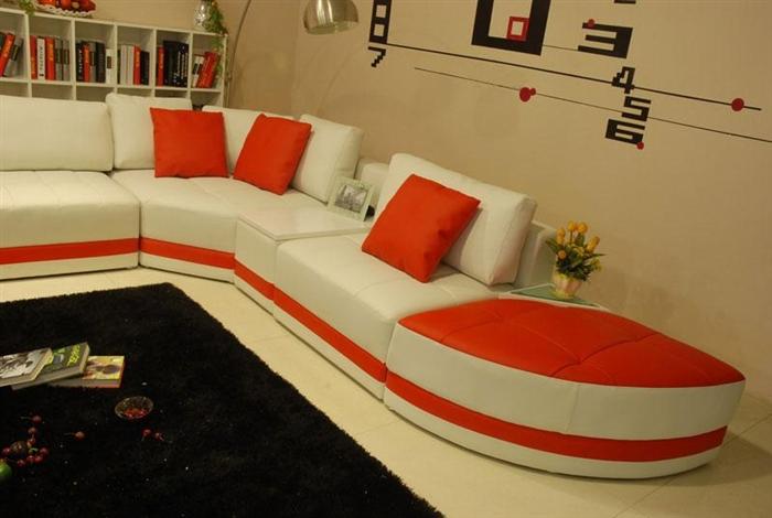 Miami Contemporary Leather Sectional Sofa Set TOS-VT-EX60