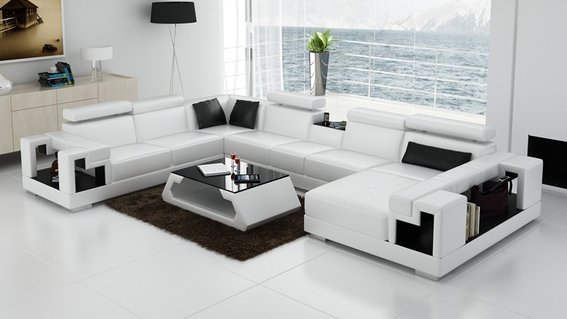 Olympian Sofas Novara White Leather Corner Sofa - Sectional Sof