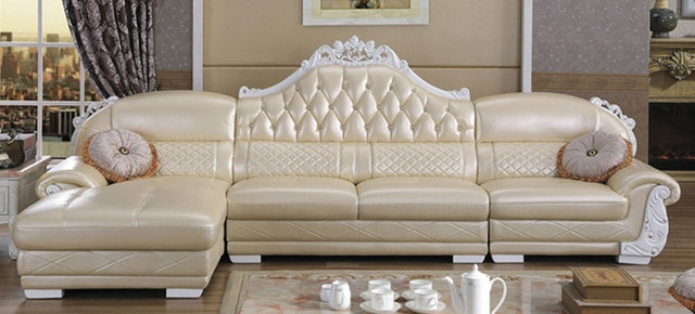 Wholesale Price Leather Corner sofa with chaise L Shaped Sofa .