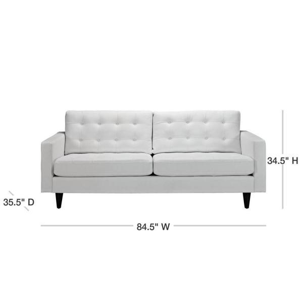 MODWAY Empress 84.5 in. White Faux Leather 4-Seater Tuxedo Sofa .
