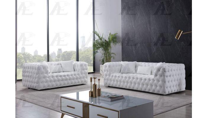 Cosima Deep Tufted White Leather So
