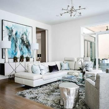 Modern White Leather Sectional with Pale Blue Pillows | Modern .