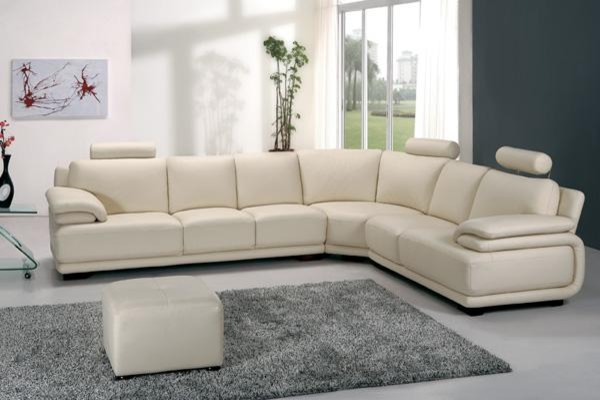 Modern Off White Leather Sectional Sofa with Adjustable Headrests .
