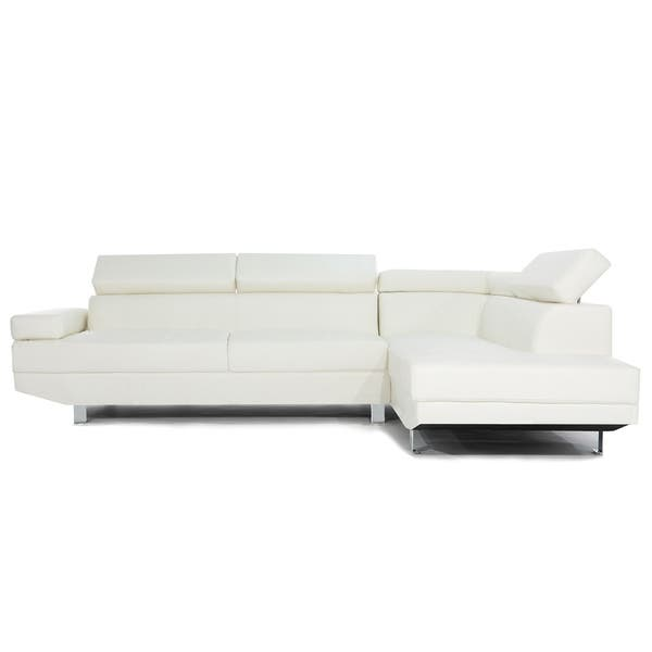 Shop Modern White Contemporary Bonded Leather Sectional Sofa .