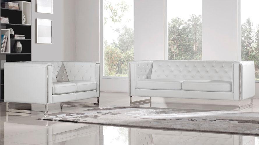 Modern White Leatherette 2 Piece Easton Sofa Set with Stainless .