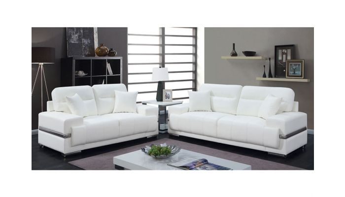 Monaco Modern White Leather So