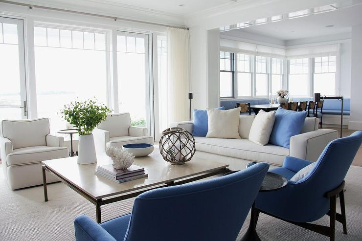 White Sofa with Blue Accent Chairs - Transitional - Living Ro