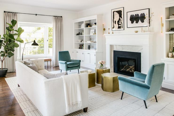 White Sofa with Blue Velvet Chairs - Transitional - Living Room .