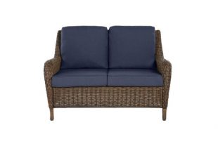 Hampton Bay Cambridge Brown Wicker Outdoor Patio Loveseat with .