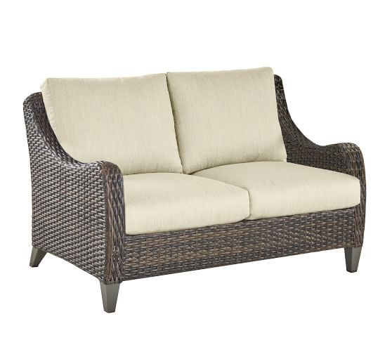 Abrego All-Weather Wicker Outdoor Loveseat | Pottery Ba