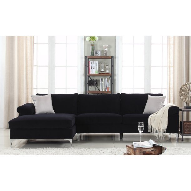 Modern Large Velvet Fabric Sectional Sofa, L-Shape Couch with .