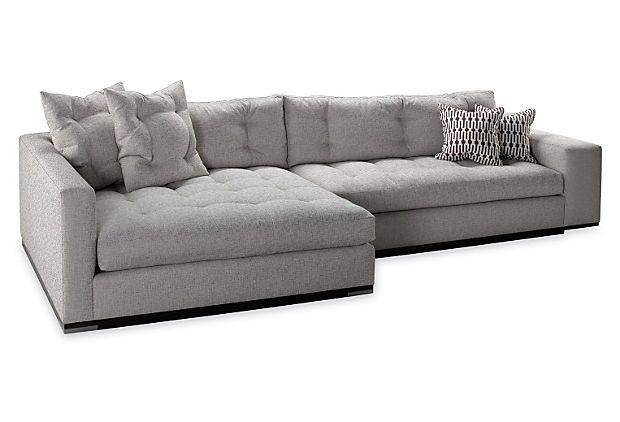 Colton Left-Facing Sectional, Stone | Sectional, Double chaise .