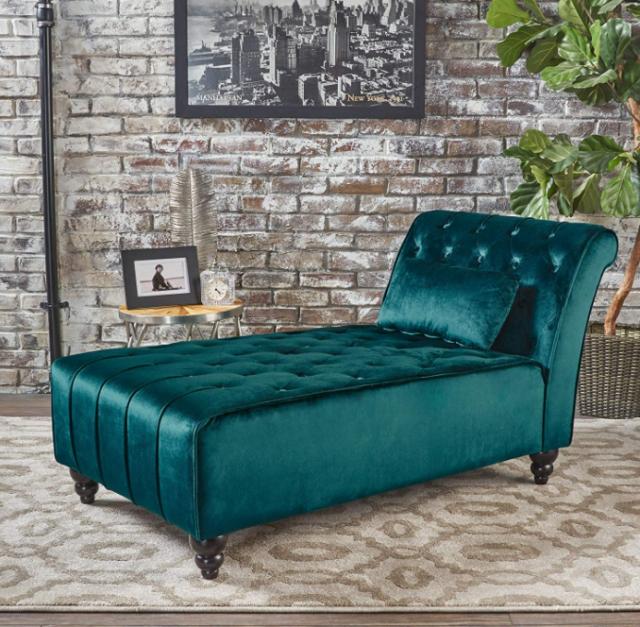 Velvet Chaise Lounge Chair Wide Sofa Green Bedroom Loveseat Living .