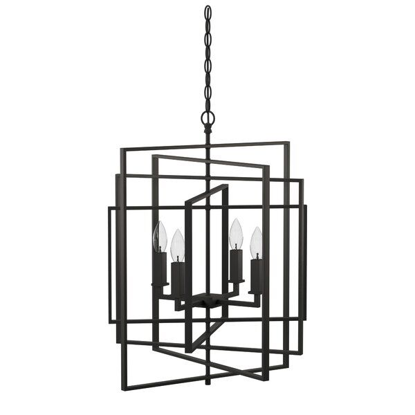 Yarnell 4 - Light Candle Style Geometric Chandelier | Geometric .