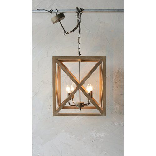 William 4 - Light Lantern Square / Rectangle Pendant with Wood .