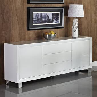 "Tema Glare 71"" Wide 3 Drawer Wood Sideboard 