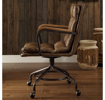 Harith Vintage Brown Top Grain Leather Executive Office Chair by Ac