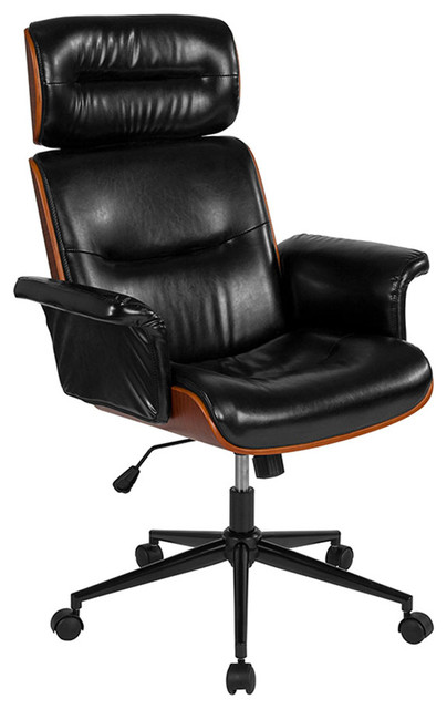 Offex Leather High Back Walnut Wood Executive Swivel Office Chair .
